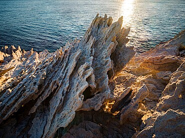 Spiked harsh rock on Antiparos Island, Cyclades, Greek Islands, Greece, Europe