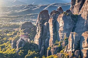 Sunset on Agios Nikolaos Monastery in Meteora, UNESCO World Heritage Site, Thessaly, Greece, Europe
