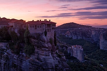 A pink sunrise on Varlaam Monastery, Meteora, UNESCO World Heritage Site, Thessaly, Greece, Europe