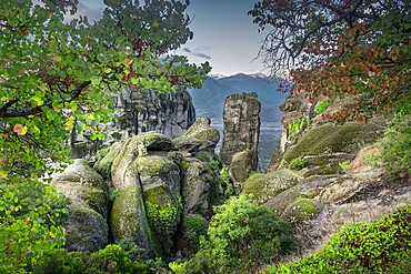 Green capture of the rocks in Meteora, Thessaly, Greece, Europe