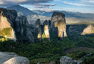 Pillars of Meteora at sunrise, Meteora, Thessaly, Greece, Europe