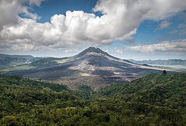 Gunung Batur volcano with clouds, Bali, Indonesia, Southeast Asia, Asia