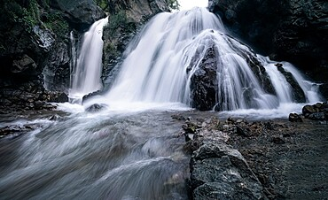 Imlil hidden waterfall on the slopes of Jebel Toubkal mountain, Morocco, North Africa, Africa