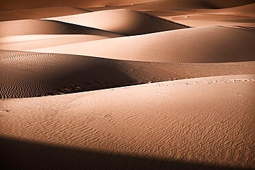 Sand dunes details of lights and shadows in the Sahara Desert, Merzouga, Morocco, North Africa, Africa