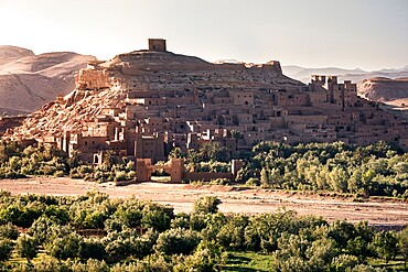 Ait Ben Haddou Ksar at sunset, UNESCO World Heritage Site, Morocco, North Africa, Africa