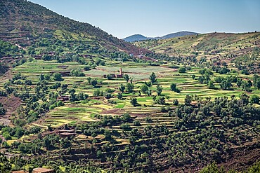Landscape of farms in the Atlas mountains region, Morocco, North Africa, Africa