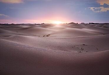 Sunset over Sahara Desert sand dunes, Merzouga, Morocco, North Africa, Africa
