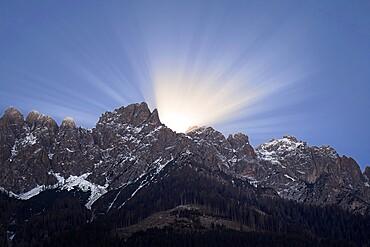 Sunrise behind Dolomites, Trentino-Alto Adige, Italy, Europe