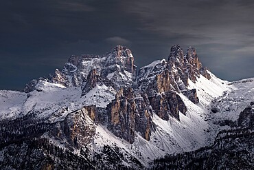 Croda da Lago mountain covered by snow, Dolomites, Trentino-Alto Adige, Italy, Europe