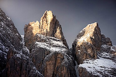 Dolomites mountain with snow at sunset, Trentino-Alto Adige, Italy, Europe