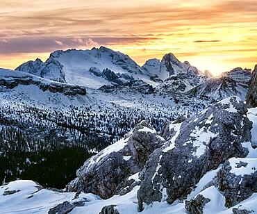 Winter sunset on Marmolada covered by snow, Dolomites, Trentino-Alto Adige, Italy, Europe