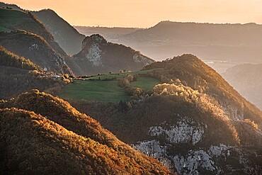 Sunset light over mountains, Lessinia, Veneto, Italy, Europe