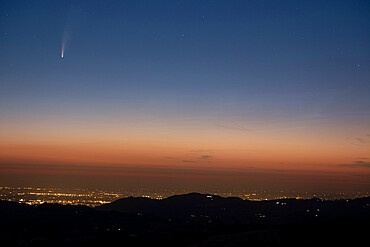 Neowise comet before dawn, Emilia Romagna, Italy, Europe