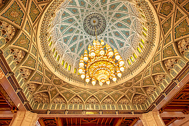 Majestic chandelier in the Sultan Qaboos Mosque in Muscat, Oman, Middle East
