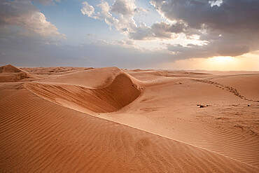Sand dunes at sunset in the Wahiba Sands desert, Oman