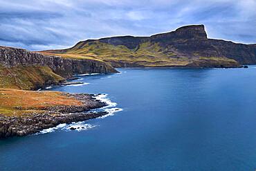 Long exposure on a bay on the coast of the Isle of Skye, Inner Hebrides, Scotland, United Kingdom, Europe
