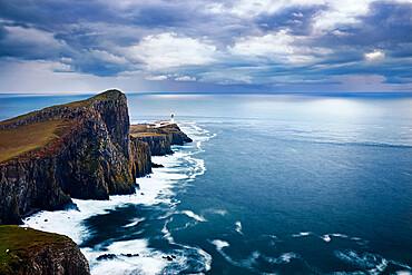 Long exposure at Neist Point lighthouse and its promontory, Isle of Skye, Inner Hebrides, Scotland, United Kingdom, Europe