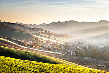 Sunrise light in the midst on gentle hills in the countryside, Emilia Romagna, Italy