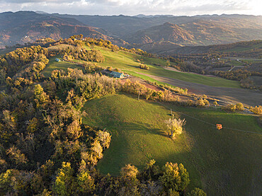 Aerial view of an autumnal sunset on the countryside, Emilia Romagna, Italy