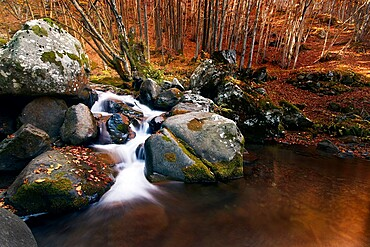 Long exposure at Dardagna waterfalls in autumn, Parco Regionale del Corno alle Scale, Emilia Romagna, Italy, Europe