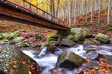 Long exposure waterfalls and a wooden bridge in autumn, Parco Regionale del Corno alle Scale, Emilia Romagna, Italy, Europe