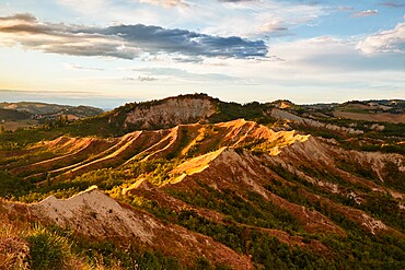 Sunset light on the Italian badlands named Calanchi, Emilia Romagna, Italy, Europe