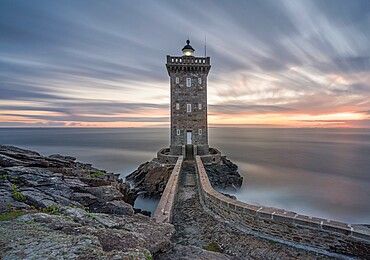 Long exposure at blue hour at Kermorvan Lighthouse, Finistere, Brittany, France, Europe