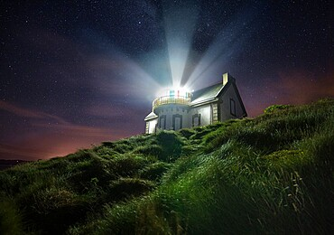 Night shot at Phare du Millier lighthouse, Finistere, Brittany, France, Europe