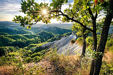 Badlands and green hills framed by trees and a sunburst, Emilia Romagna, Italy, Europe