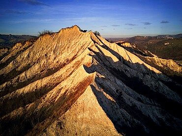 Aerial view over badlands ridge, Emilia Romagna, Italy, Europe