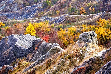 Autumn colors on badlands, Emilia Romagna, Italy, Europe