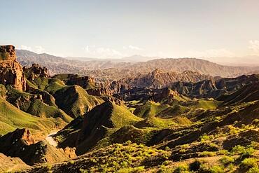 Binggou Danxia green hills, Gansu, China, Asia