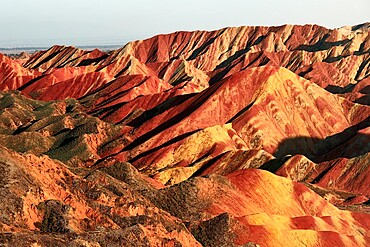 Rainbow mountains of Danxia at sunset, Gansu, China, Asia