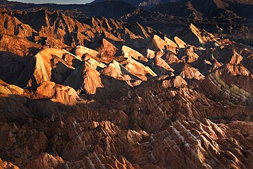 Rainbow mountains of Danxia at sunrise, Gansu, China, Asia