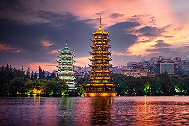 Sun and Moon pagodas at sunset in Guilin, Guilin, Guangxi, China, Asia