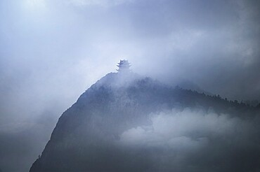 Misty pagoda in the fog on top of Emeishan, Sichuan, China, Asia