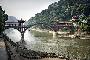 Traditional Chinese bridge in Leshan, Sichuan, China, Asia