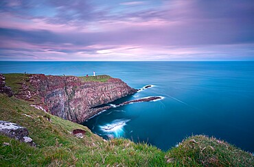 Long exposure at Akraberg Lighthouse in Suduroy, Faroe Islands, Denmark, Europe