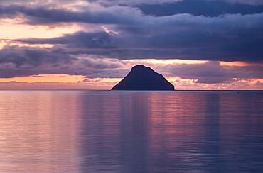 The small island of Litla Dimun before sunrise, Faroe Islands, Denmark, Europe