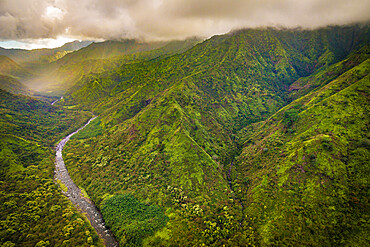 The moutainous Hanalei River Valley on Kauai's north shore photographed from above.