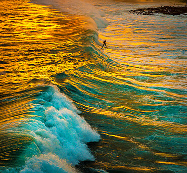 A surfer catches a wave in the golden reflections of the sunset on the south shore of Kauai, Hawaii, United States of America, Pacific