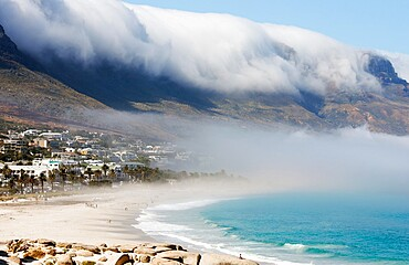 Camps Bay with morning marine fog, Western Cape, South Africa, Africa