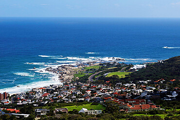 Camps Bay and the Atlantic Ocean from the Pipe Track, Camps Bay, nr Cape Town, South Africa