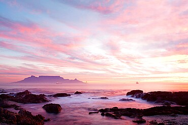 Cape Town from Bloubergstrand, Western Cape, South Africa, Africa