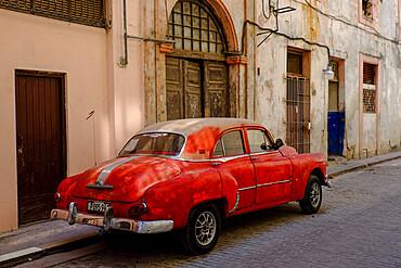 Vintage car parked on the street, Havana, Cuba, West Indies, Central America