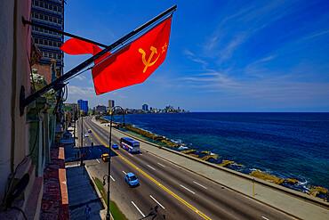 A Soviet Union flag above the Malecon, Havana, Cuba, West Indies, Central America