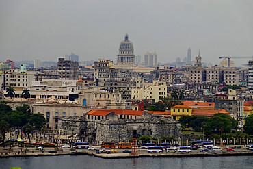 Skyline of Havana featuring the National Capitol Building, Havana, Cuba, West Indies, Central America