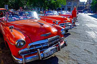 Classic vintage cars as taxis lined up awaiting fares, Havana, Cuba, West Indies, Central America