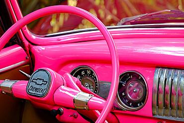 Steering wheel of one of Hemingways' cars at his home, Finca Vigia, San Francisco de Paula, Havana, Cuba