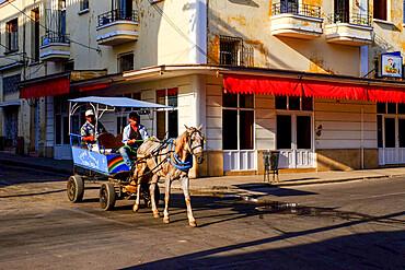 Horse-drawn carriage, Cienfuegos, Cuba, West Indies, Central America